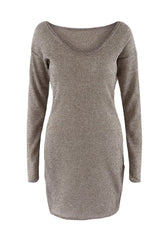 Kayla V Neck Knitted Dress-BoldDress.com