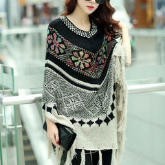 Boho Tasseled Poncho-BoldDress.com