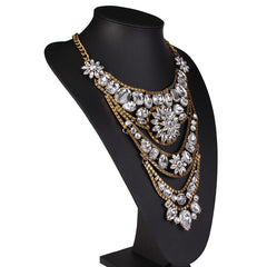 Boho Crystal Flower Maxi Necklace (Silver or Gold)-BoldDress.com