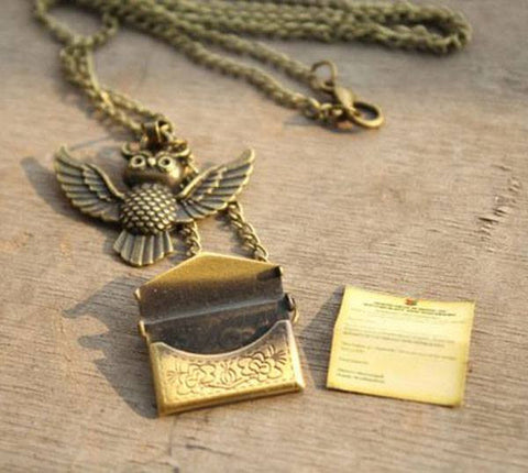 Harry Potter Owl Post with Hogwarts Acceptance Letter Necklace
