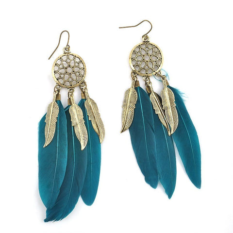 Earrings - Feather Leaves Charm Drop Earrings