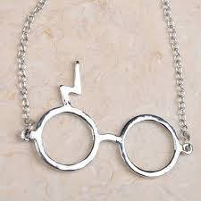 Necklace - Harry Potter Lightning Scar Glasses Necklace