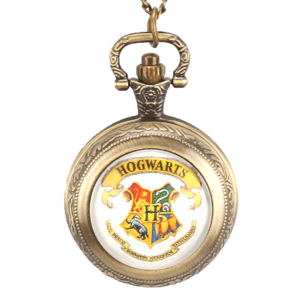 Hogwarts School Badge Harry Potter Pocket Watch Quartz Watch Men with Necklace Chain Gift  P343