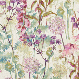 floral fabric multicoloured watercoloured painted material