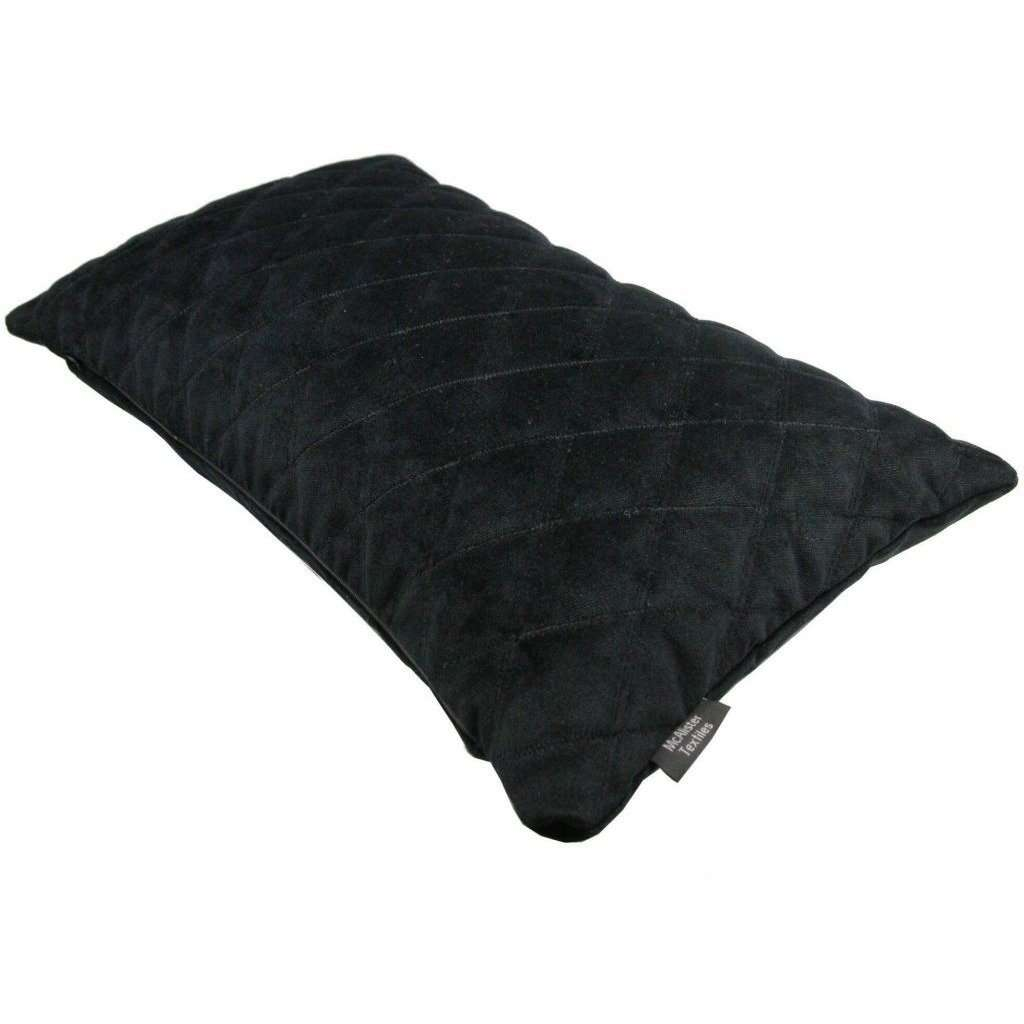 McAlister Textiles Diamond Quilted Black Velvet Cushion Cushions and Covers