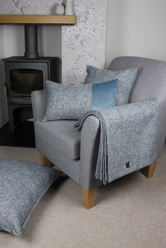 McAlister Textiles Harris Velvet Border Tweed Cushion - Blue & Grey Cushions and Covers