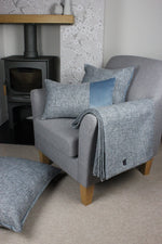 Charger l'image dans la galerie, McAlister Textiles Harris Velvet Border Tweed Cushion - Blue & Grey Cushions and Covers