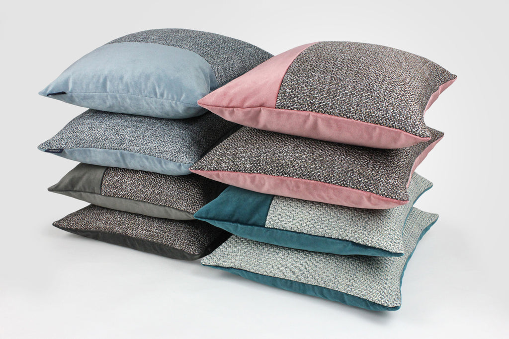 McAlister Textiles Lewis Velvet Border Tweed Cushion Grey Heather and Pink Cushions and Covers