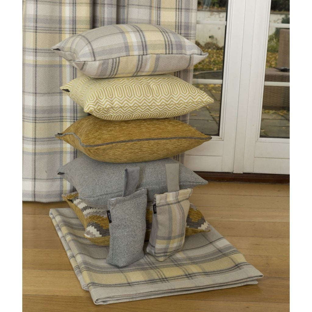 McAlister Textiles Heritage Yellow + Grey Tartan Table Runner Throws and Runners