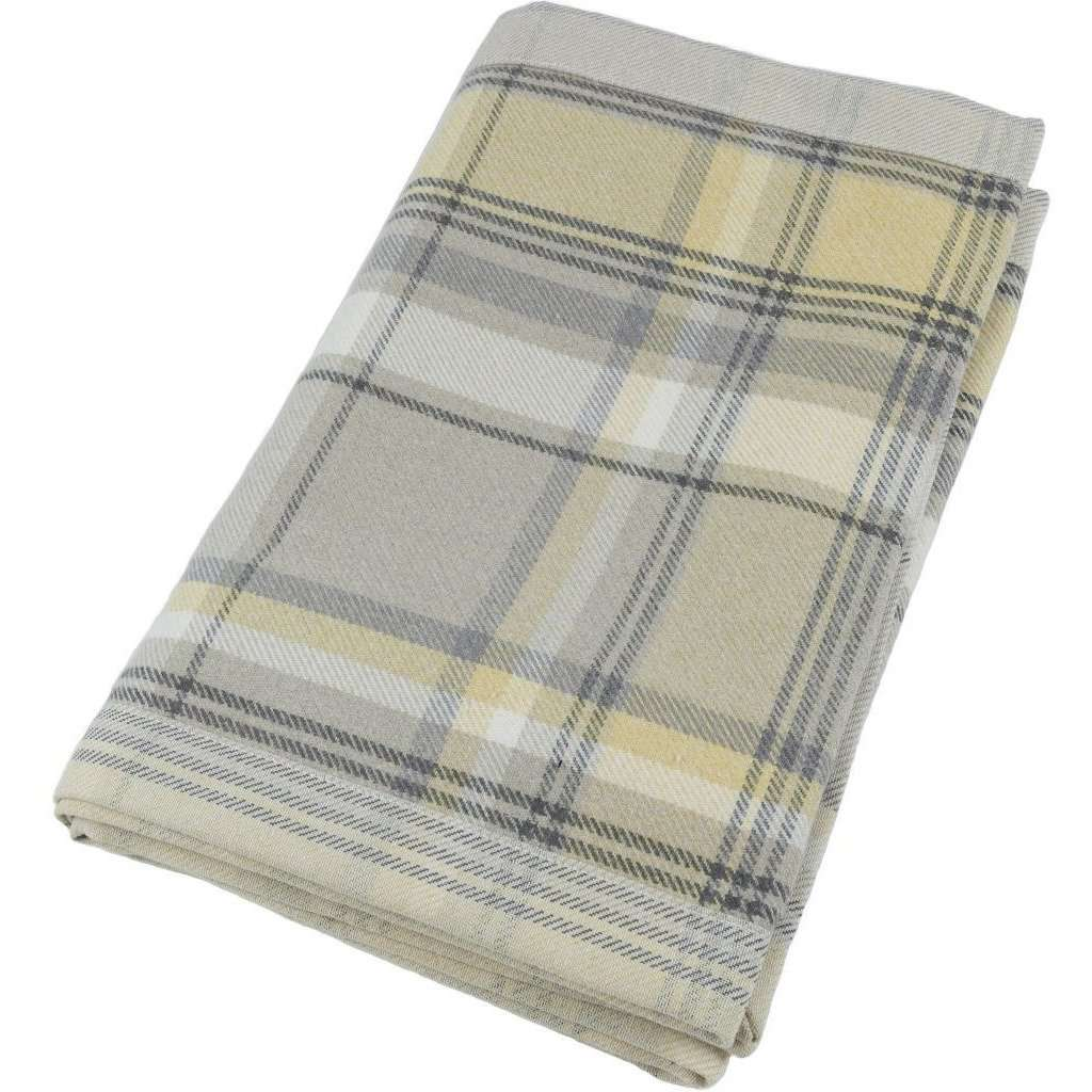 McAlister Textiles Heritage Yellow + Grey Tartan Throws & Runners Throws and Runners Bed Runner (50cm x 240cm)