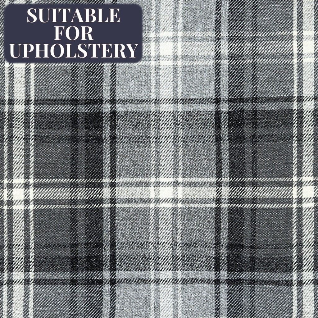 McAlister Textiles Angus Charcoal Grey Tartan Check Fabric Sample Fabrics