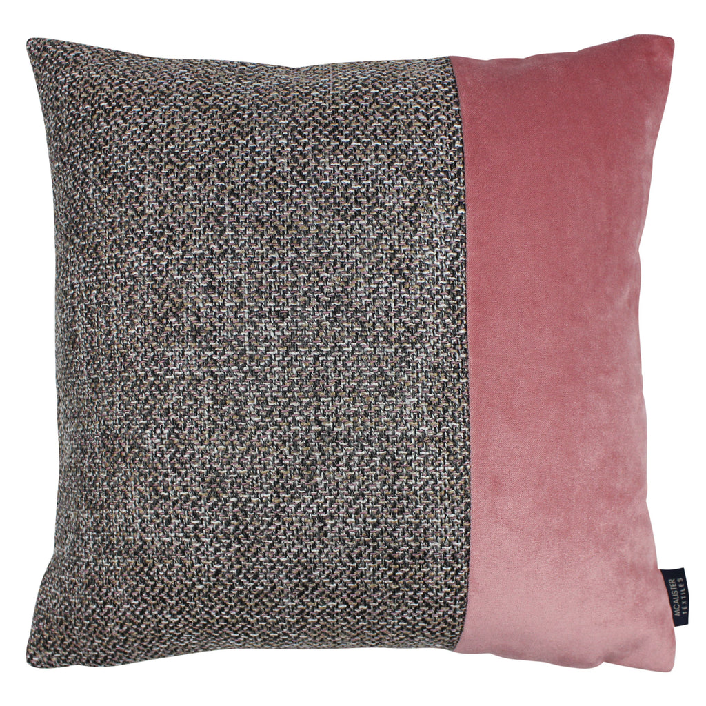 McAlister Textiles Lewis Velvet Border Tweed Cushion Grey Heather and Pink Cushions and Covers Cover Only 43cm x 43cm