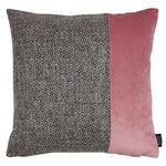 Carica l'immagine nel visualizzatore di Gallery, McAlister Textiles Lewis Velvet Border Tweed Cushion Grey Heather and Pink Cushions and Covers Cover Only 43cm x 43cm