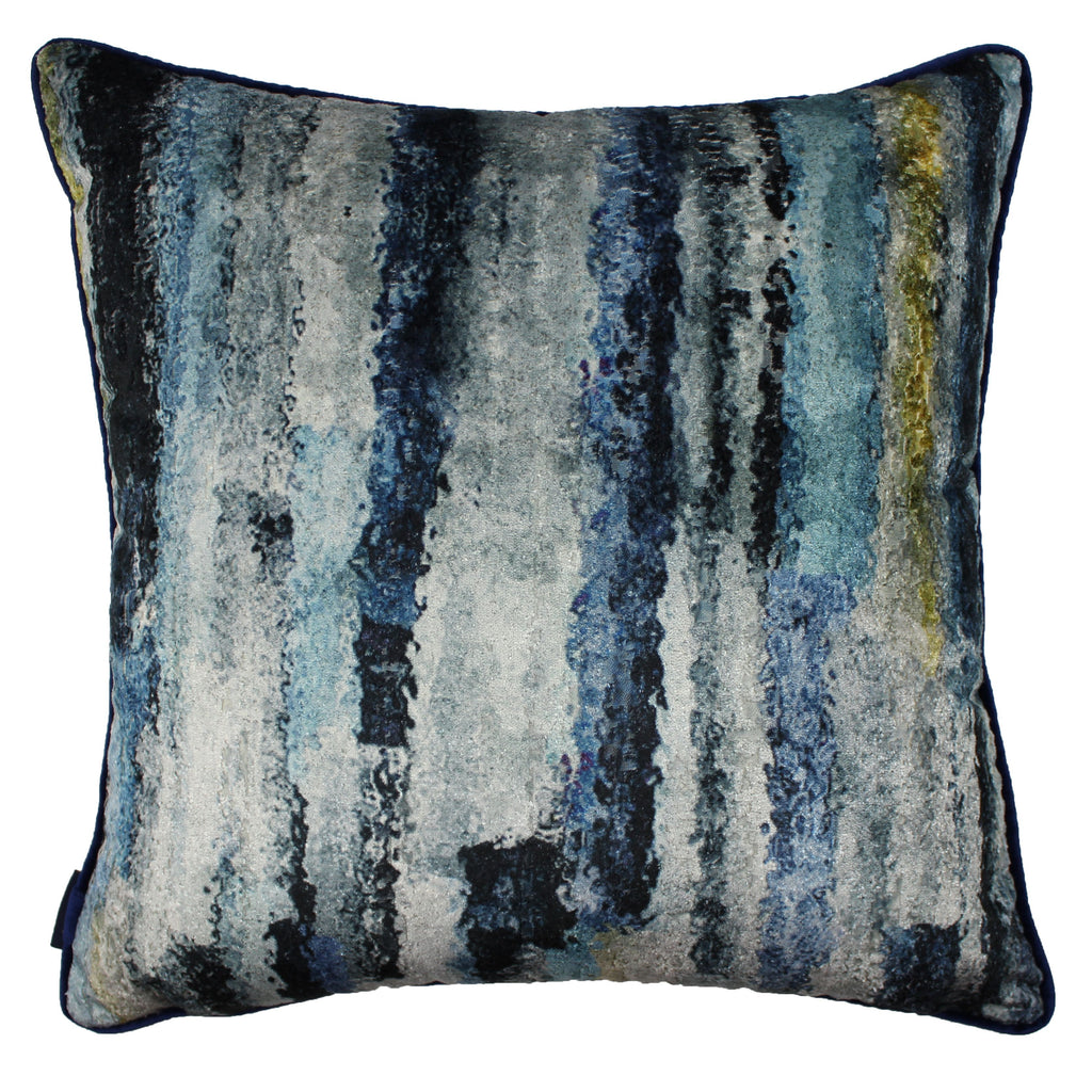 McAlister Textiles Aura Navy Blue Printed Velvet Cushions Cushions and Covers Cover Only 43cm x 43cm