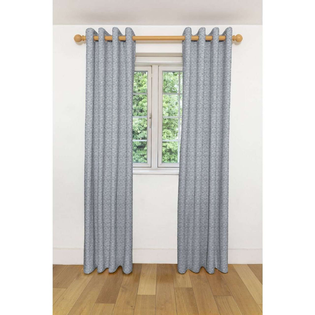 "McAlister Textiles Costa Rica Black + White Curtains Tailored Curtains 116cm(w) x 137cm(d) (46"" x 54"")"