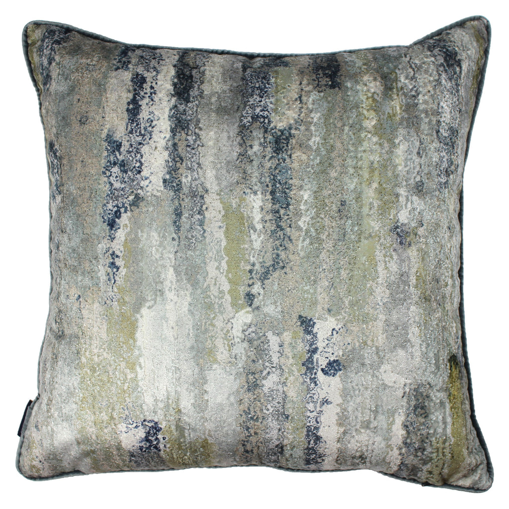 McAlister Textiles Aura Grey Natural Printed Velvet Cushions Cushions and Covers Cover Only 43cm x 43cm