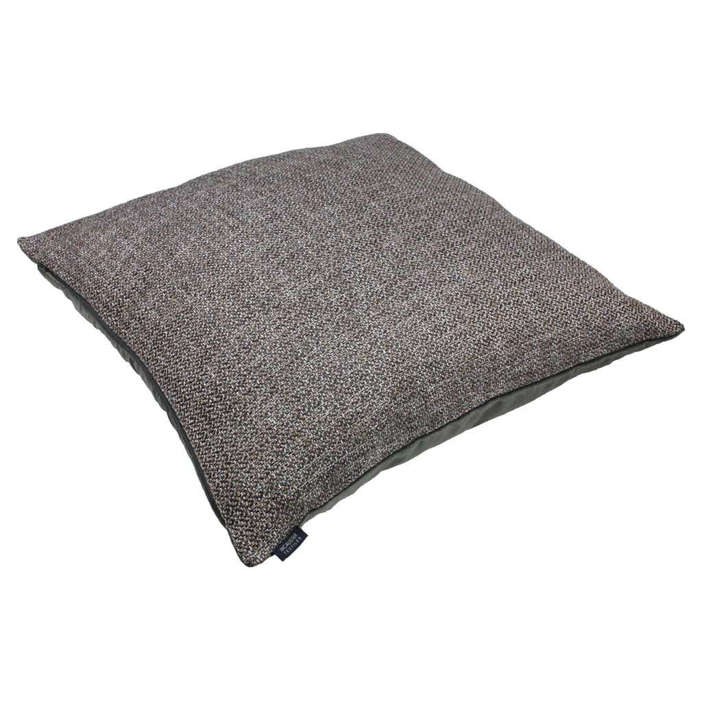 McAlister Textiles Lewis Tweed Floor Cushion - Grey Heather and Charcoal Floor Cushions