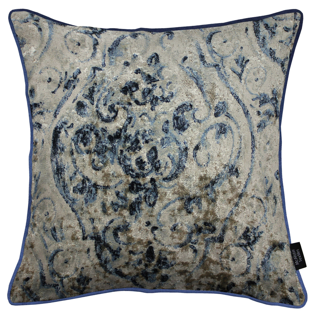 McAlister Textiles Renaissance Navy Blue Printed Velvet Cushions Cushions and Covers Cover Only 43cm x 43cm