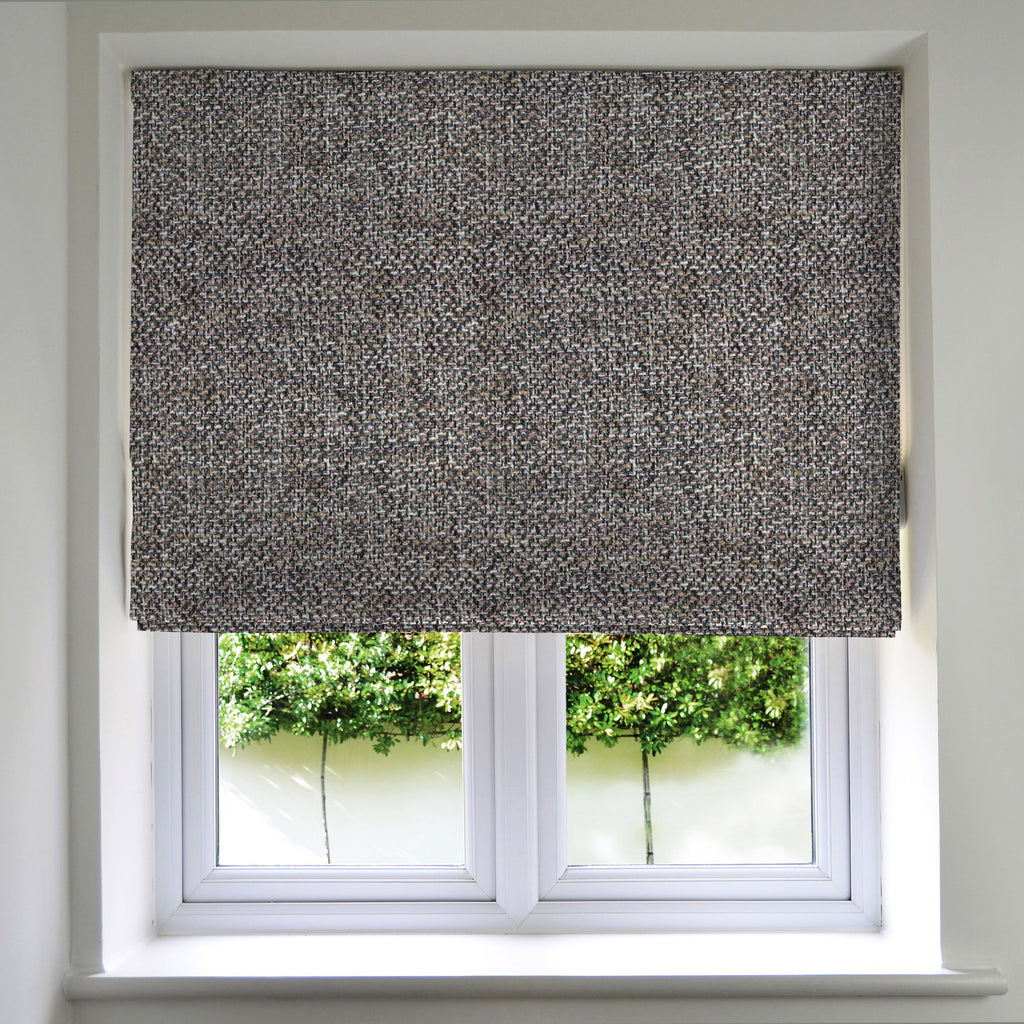 McAlister Textiles Lewis Grey Heather Tweed Roman Blinds Roman Blinds Standard Lining 130cm x 200cm