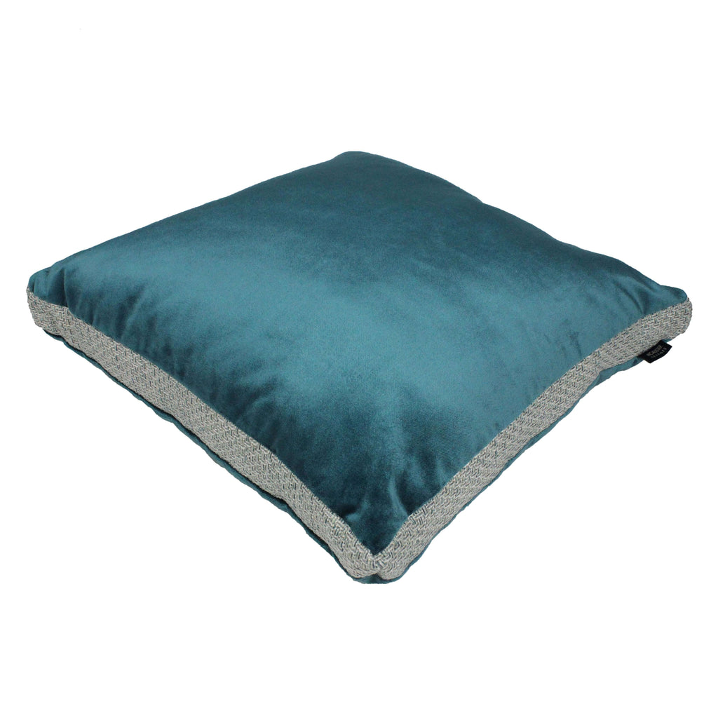 McAlister Textiles Skye Tweed and Velvet Insert Edge Cushion - Teal Cushions and Covers Supplied Filled 50cm x 50cm x 5cm