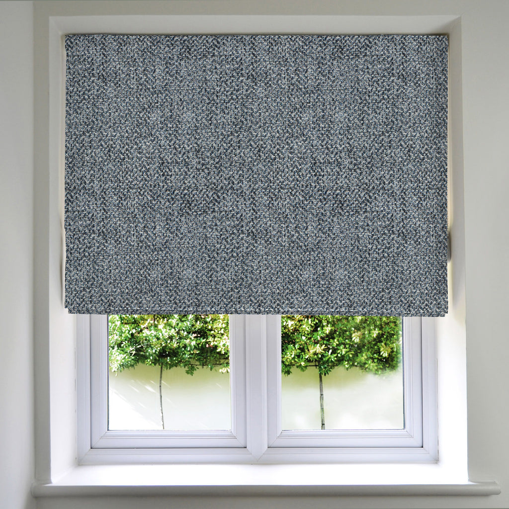 McAlister Textiles Harris Charcoal Grey and Blue Tweed Roman Blinds Roman Blinds Standard Lining 130cm x 200cm