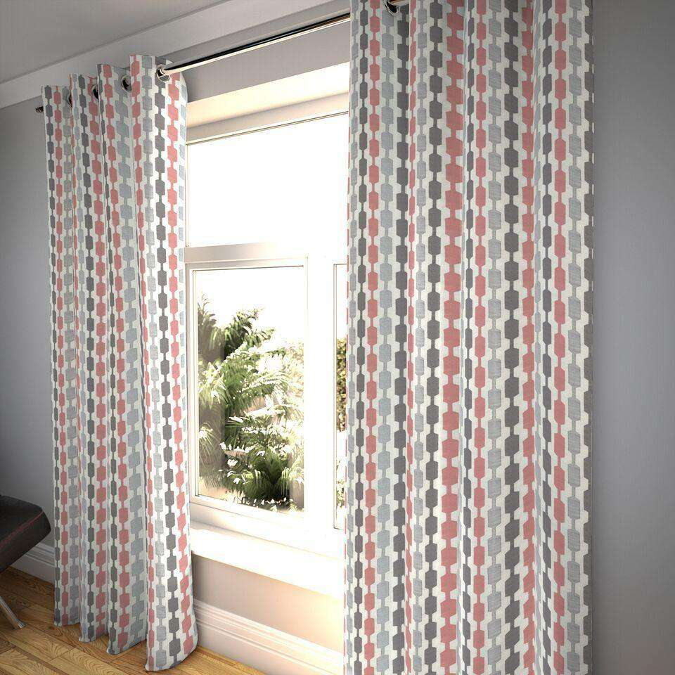 "McAlister Textiles Lotta Blush Pink + Grey Curtains Tailored Curtains 116cm(w) x 182cm(d) (46"" x 72"")"