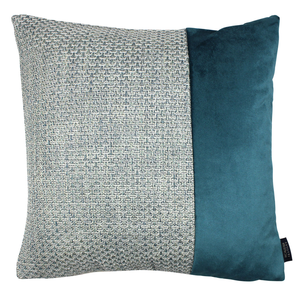 McAlister Textiles Skye Velvet Border Tweed Cushion - Teal Cushions and Covers Cover Only 43cm x 43cm