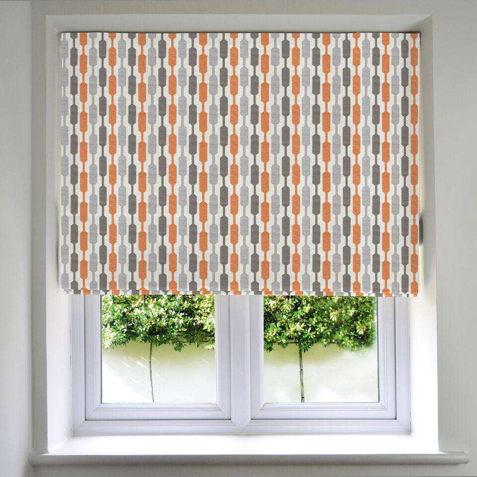 McAlister Textiles Lotta Burnt Orange + Grey Roman Blind Roman Blinds Standard Lining 130cm x 200cm