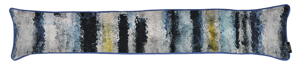 McAlister Textiles Aura Navy Blue Printed Velvet Draught Excluder Draught Excluders