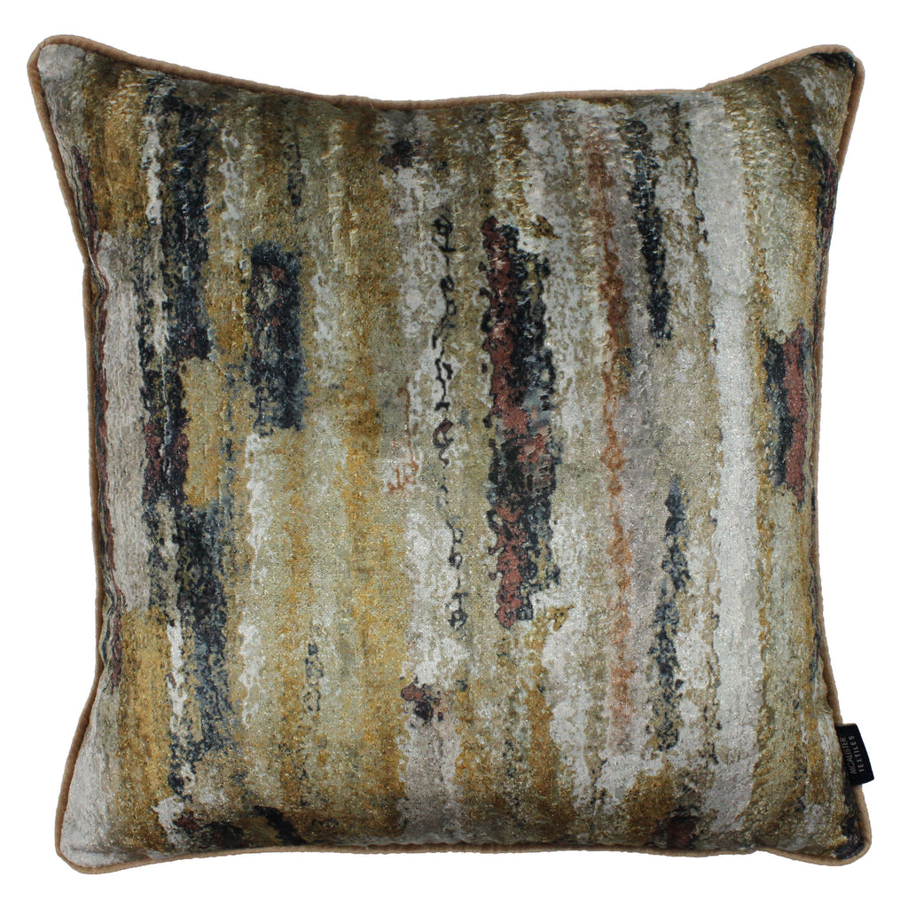 McAlister Textiles Aura Ochre Printed Velvet Cushions Cushions and Covers Cover Only 43cm x 43cm