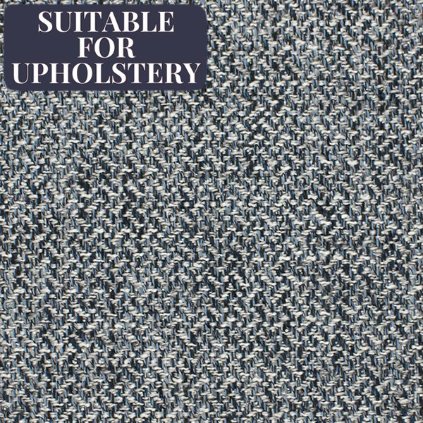 McAlister Textiles Harris Charcoal Grey and Blue Tweed Fabric Fabrics 1/2 Metre