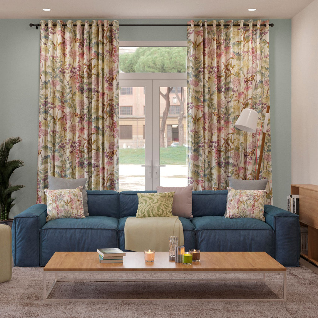 McAlister Textiles Wildflower Pastel Purple Linen Curtains Tailored Curtains