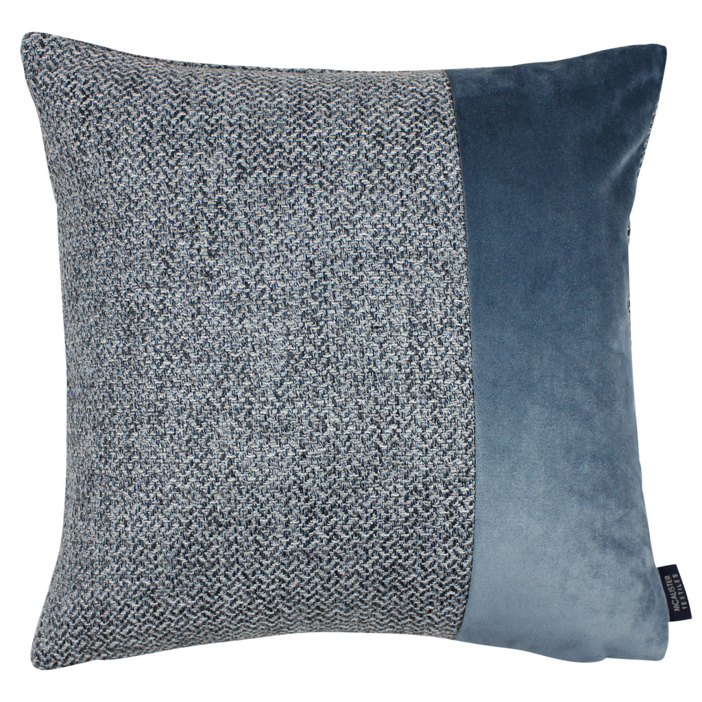 McAlister Textiles Harris Velvet Border Tweed Cushion - Blue & Grey Cushions and Covers Cover Only 43cm x 43cm