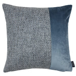 Charger l'image dans la galerie, McAlister Textiles Harris Velvet Border Tweed Cushion - Blue & Grey Cushions and Covers Cover Only 43cm x 43cm