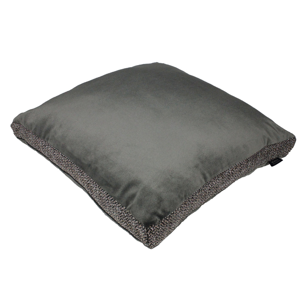 McAlister Textiles Lewis Tweed and Velvet Insert Edge Cushion Grey Heather and Charcoal Cushions and Covers Supplied Filled 50cm x 50cm x 5cm