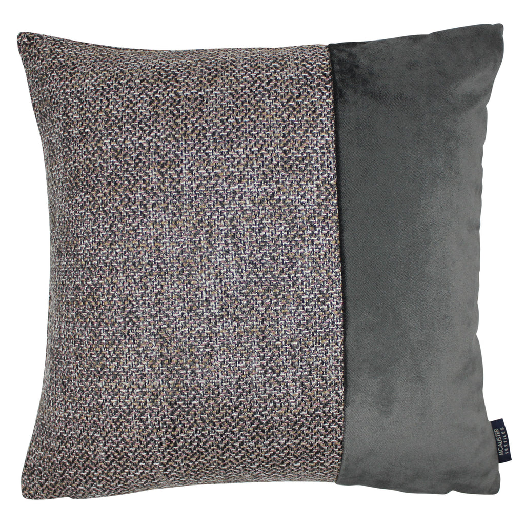McAlister Textiles Lewis Velvet Border Tweed Cushion Grey Heather and Charcoal Cushions and Covers Cover Only 43cm x 43cm