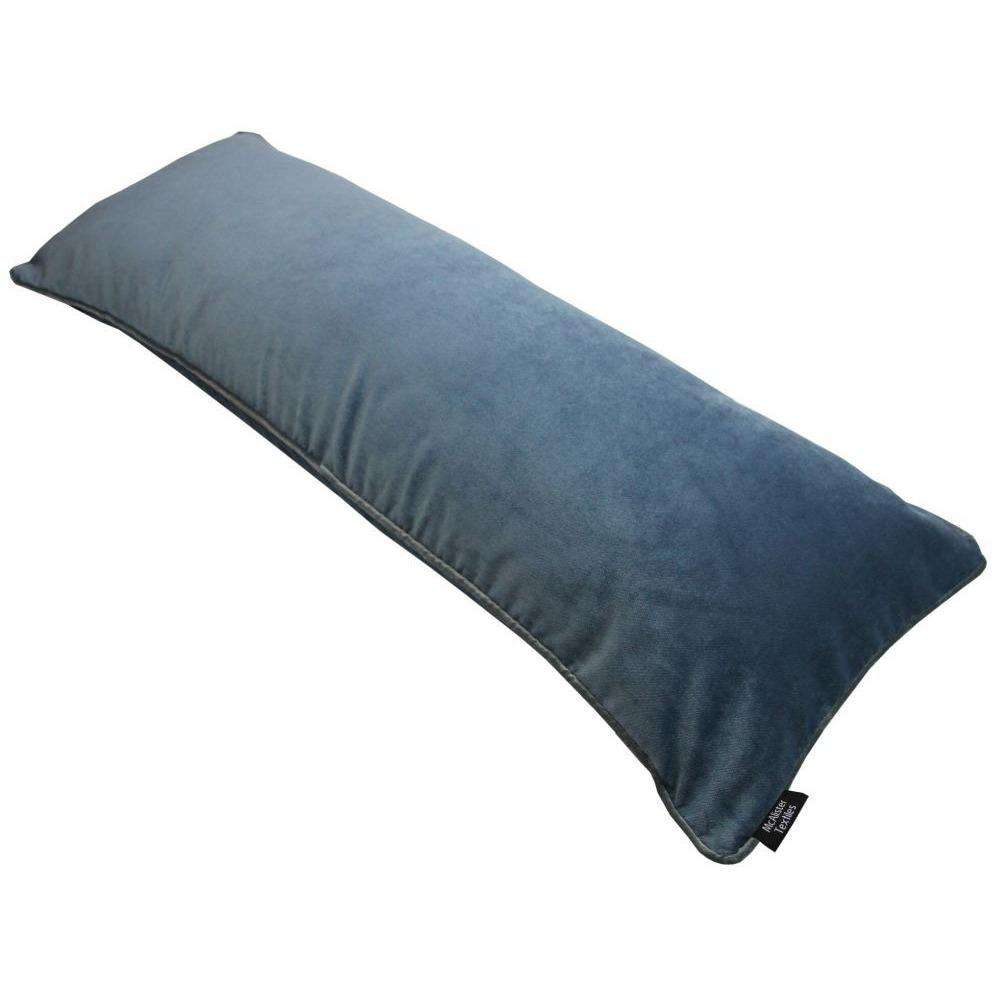 McAlister Textiles Deluxe Velvet Large Petrol Blue Bed Pillow Large Boudoir Cushions