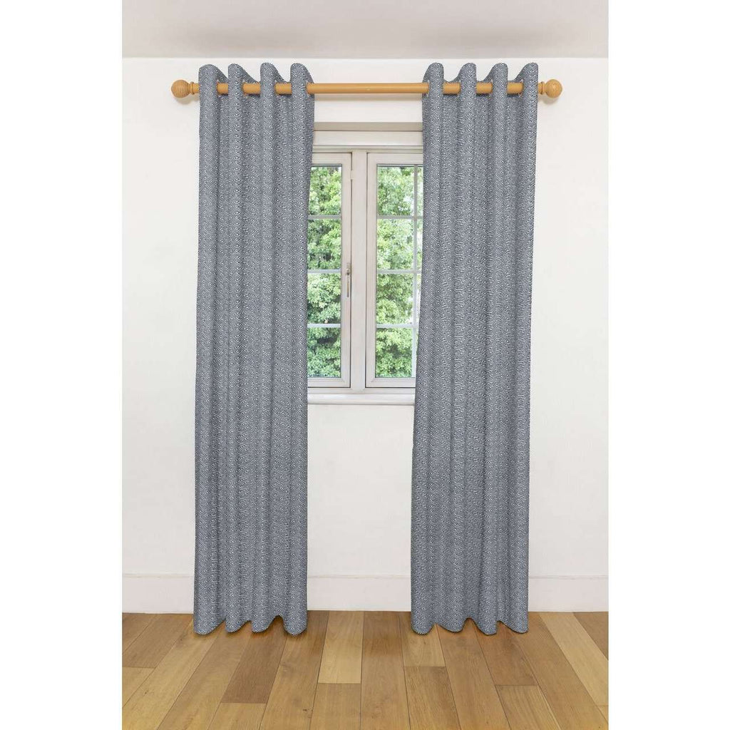 "McAlister Textiles Acapulco Black + White Curtains Tailored Curtains 116cm(w) x 182cm(d) (46"" x 72"")"