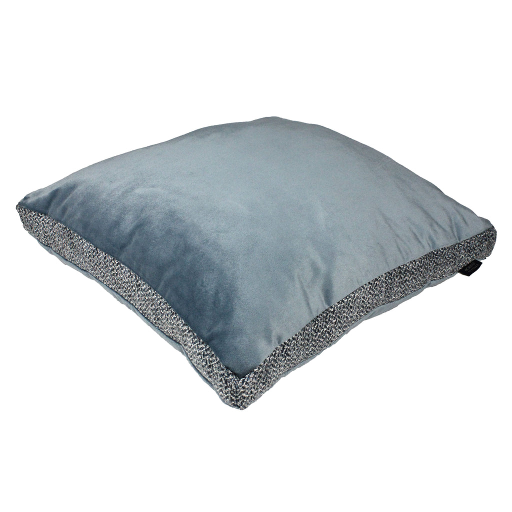 McAlister Textiles Harris Tweed and Velvet Insert Edge Cushion - Blue & Grey Cushions and Covers Supplied Filled 50cm x 50cm x 5cm