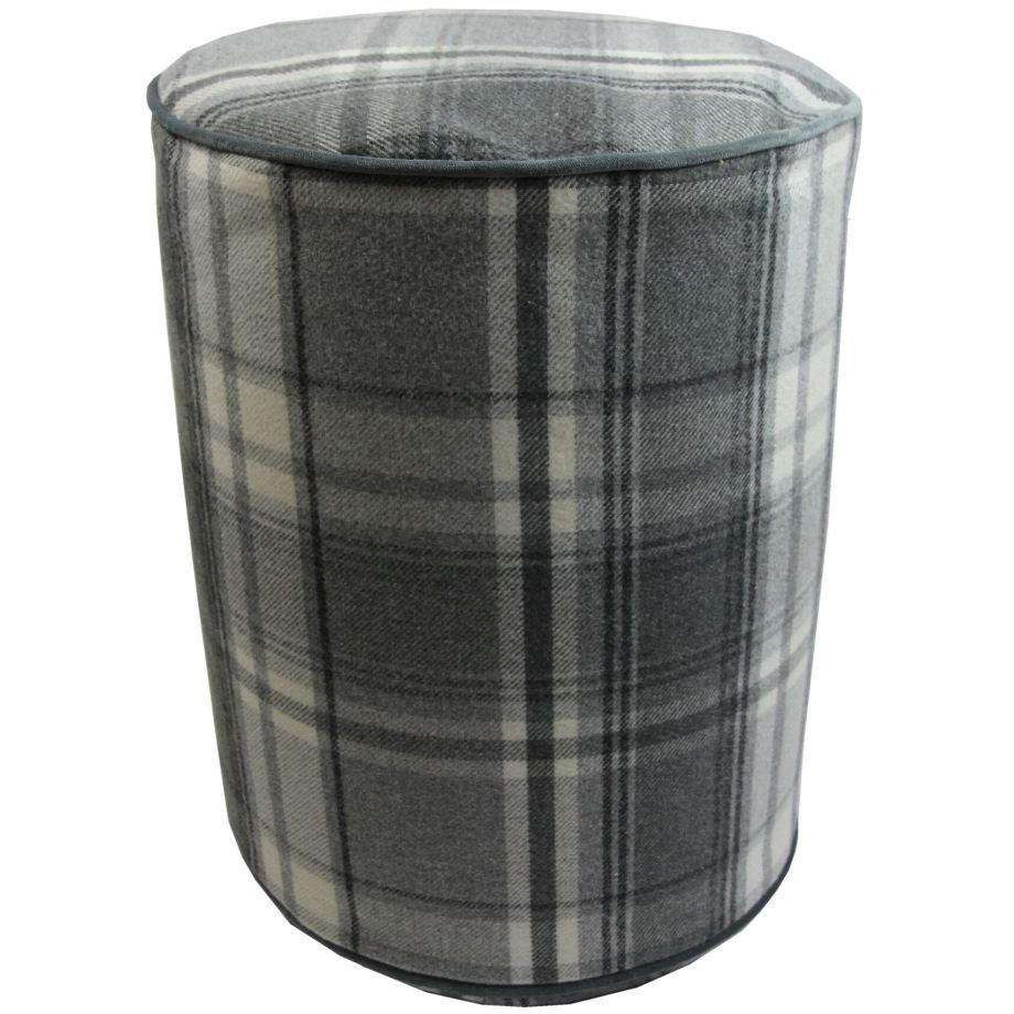 McAlister Textiles Deluxe Tartan Charcoal Grey Ottoman Stool Round Stool
