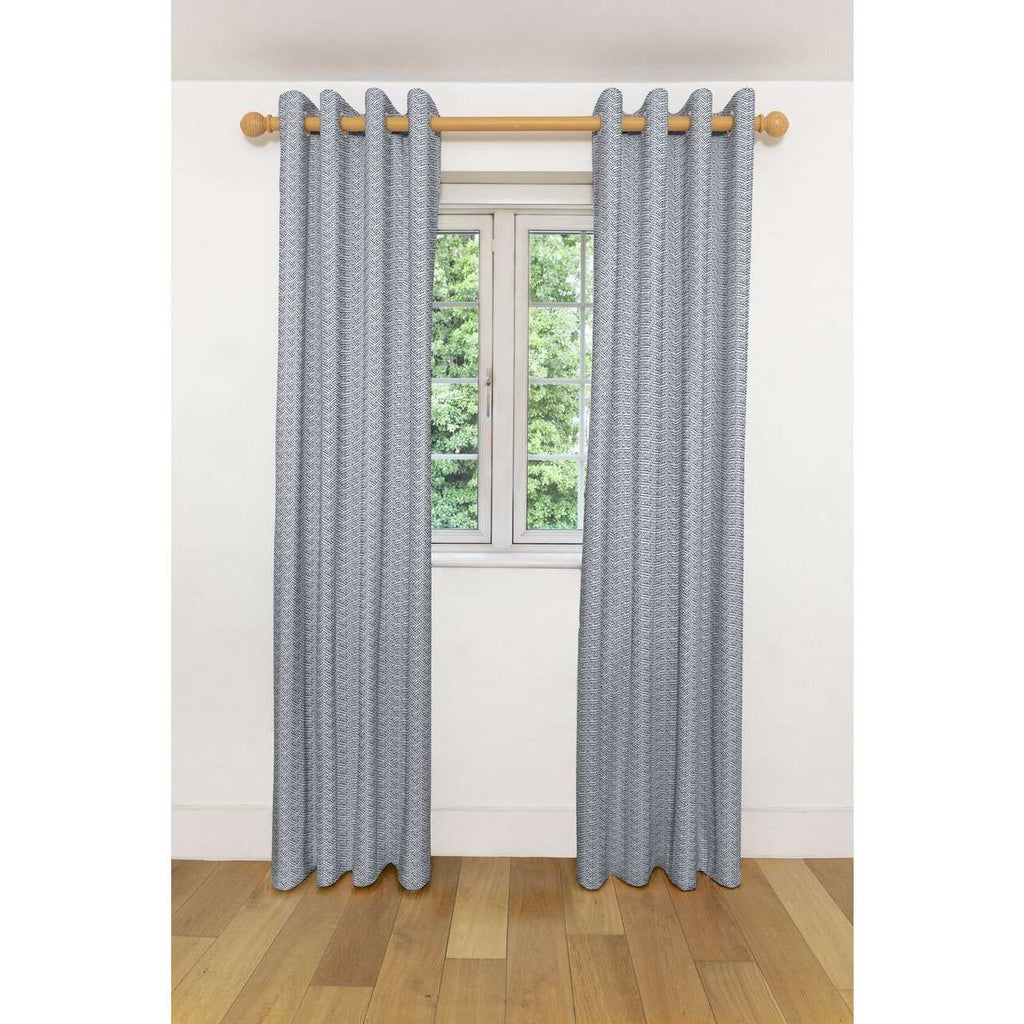 "McAlister Textiles Monterrey Black + White Curtains Tailored Curtains 116cm(w) x 182cm(d) (46"" x 72"")"