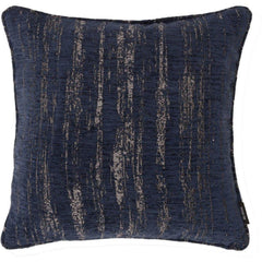 McAlister Textiles Woven Semi Plain Textured Chenille Fabric Pillow Cushion Covers Navy Blue