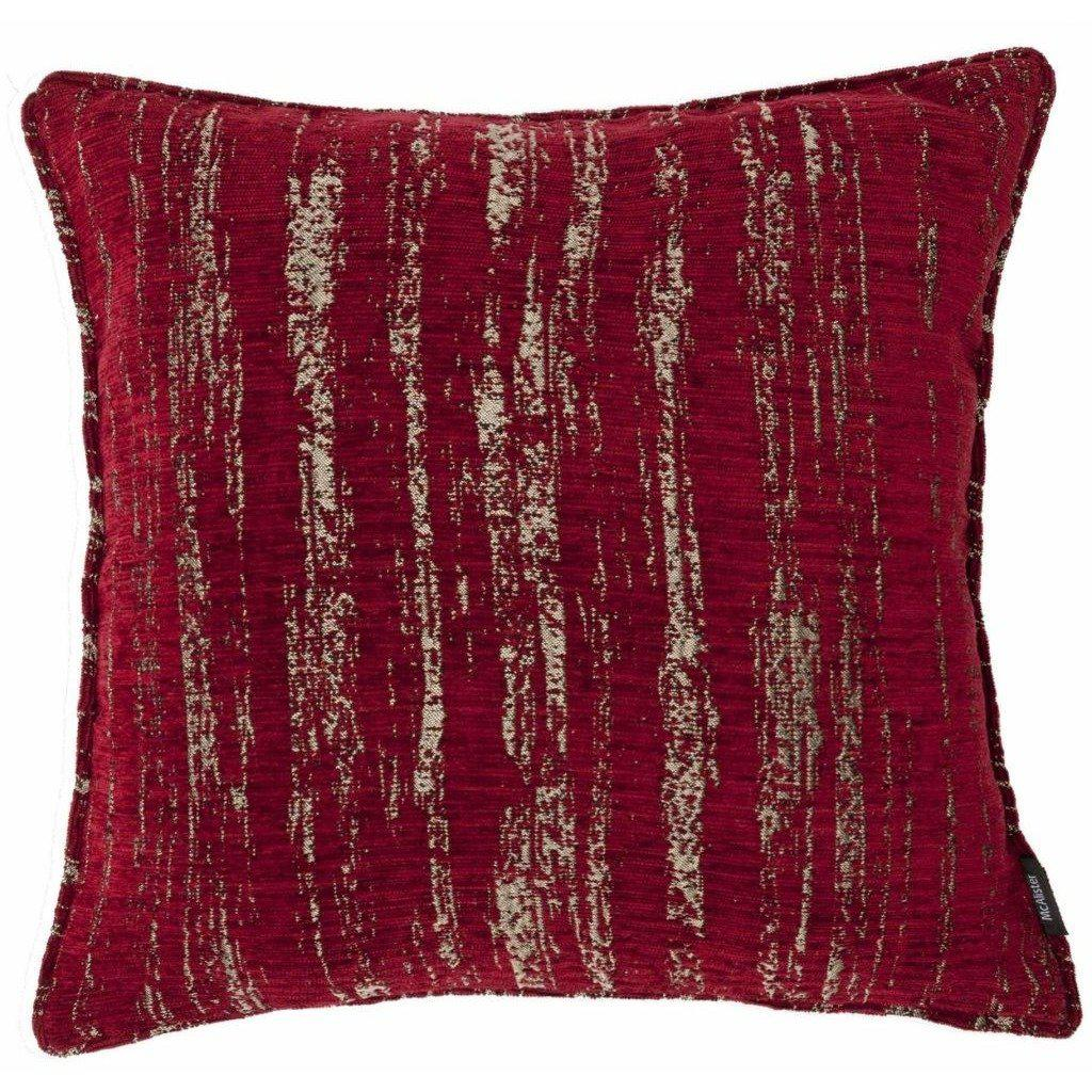 McAlister Textiles Textured Chenille Wine Red Cushion Cushions and Covers Polyester Filler 49cm x 49cm