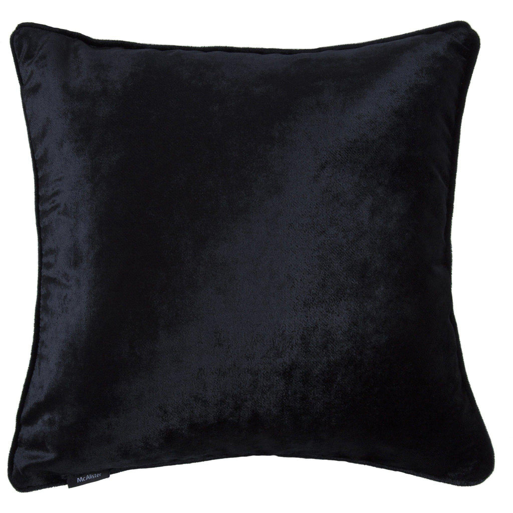 McAlister Textiles Black Crushed Velvet Cushions Cushions and Covers Cover Only 43cm x 43cm