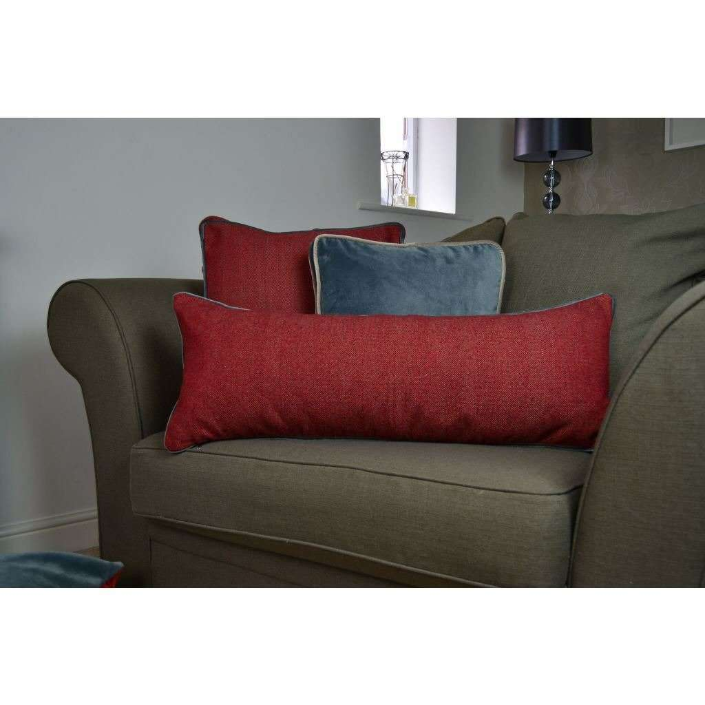 McAlister Textiles Deluxe Herringbone Red Bed Pillow Large Boudoir Cushions
