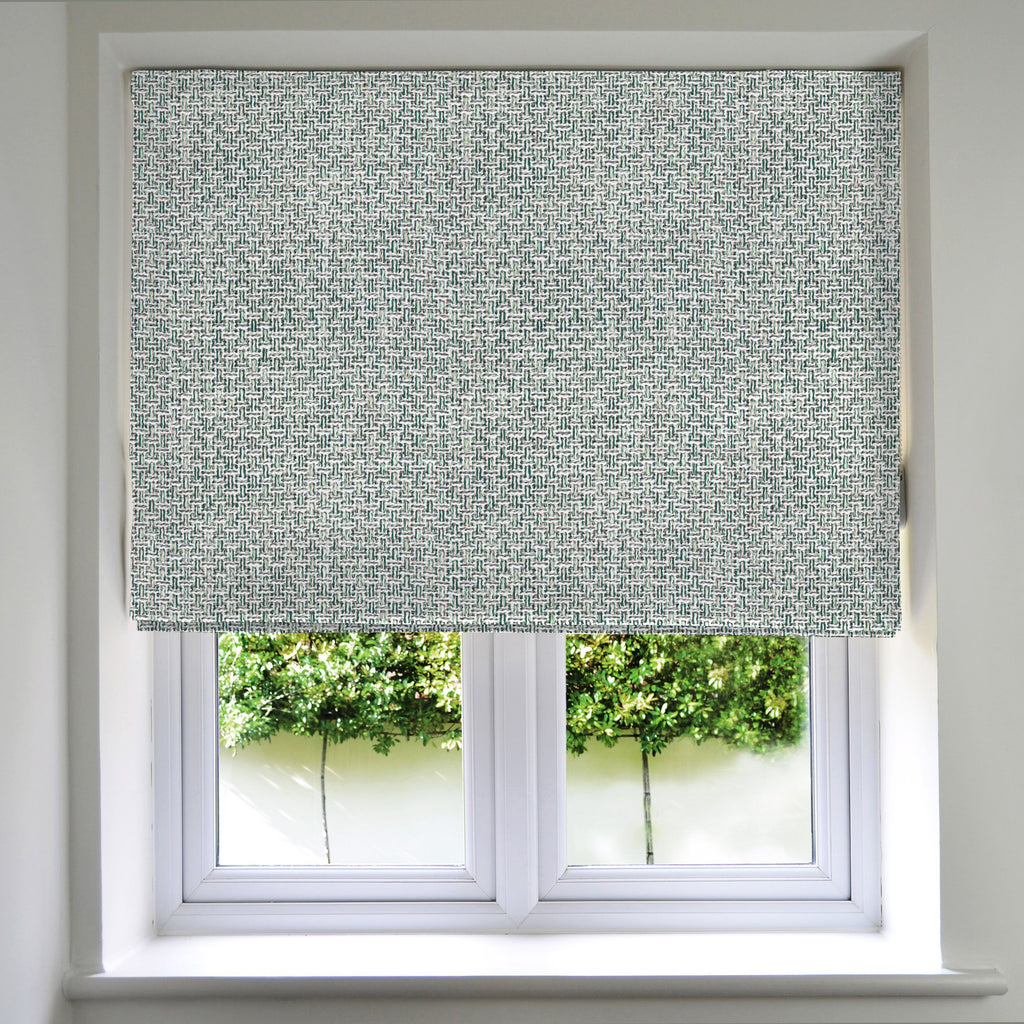 McAlister Textiles Skye Teal Tweed Roman Blinds Roman Blinds Standard Lining 130cm x 200cm