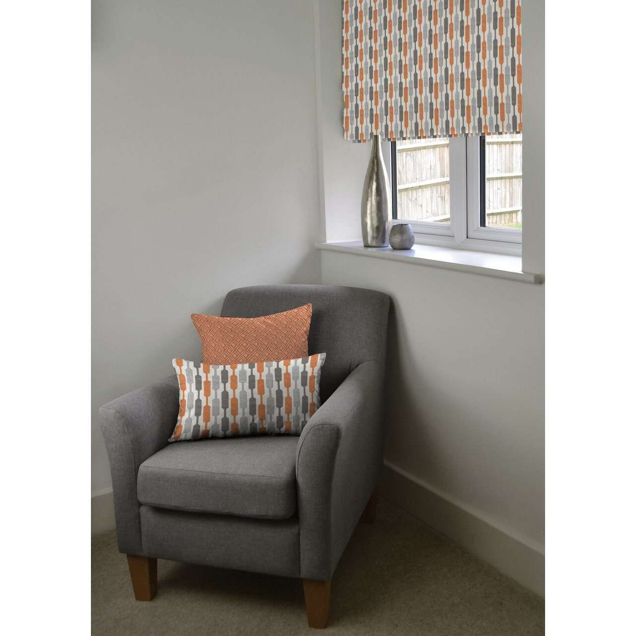 McAlister Textiles Lotta Burnt Orange + Grey Roman Blind Roman Blinds