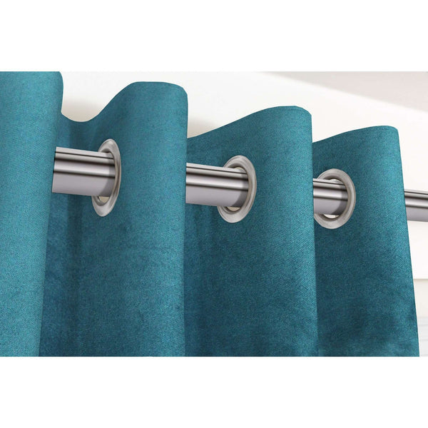 "McAlister Textiles Matt Blue Teal Velvet Curtains Tailored Curtains Pencil Pleat Standard Lining 116cm(w) x 137cm(d) (46"" x 54"")"