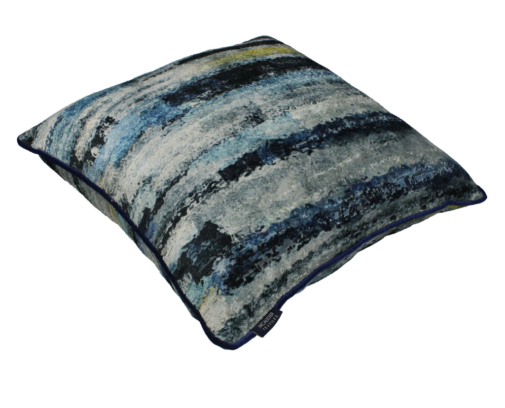 McAlister Textiles Aura Navy Blue Printed Velvet Cushions Cushions and Covers