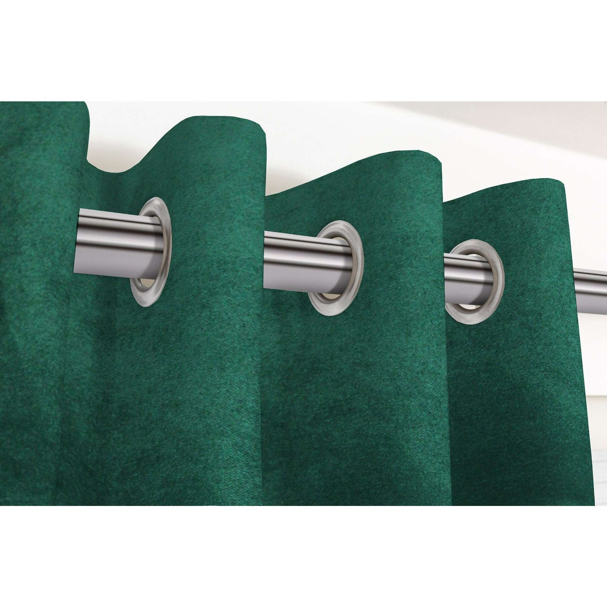 "McAlister Textiles Matt Emerald Velvet Curtains Tailored Curtains 116cm(w) x 182cm(d) (46"" x 72"")"